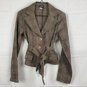 Twik Simons Canada Brown Long Sleeve Wool Button Down Blazer Size S Petite